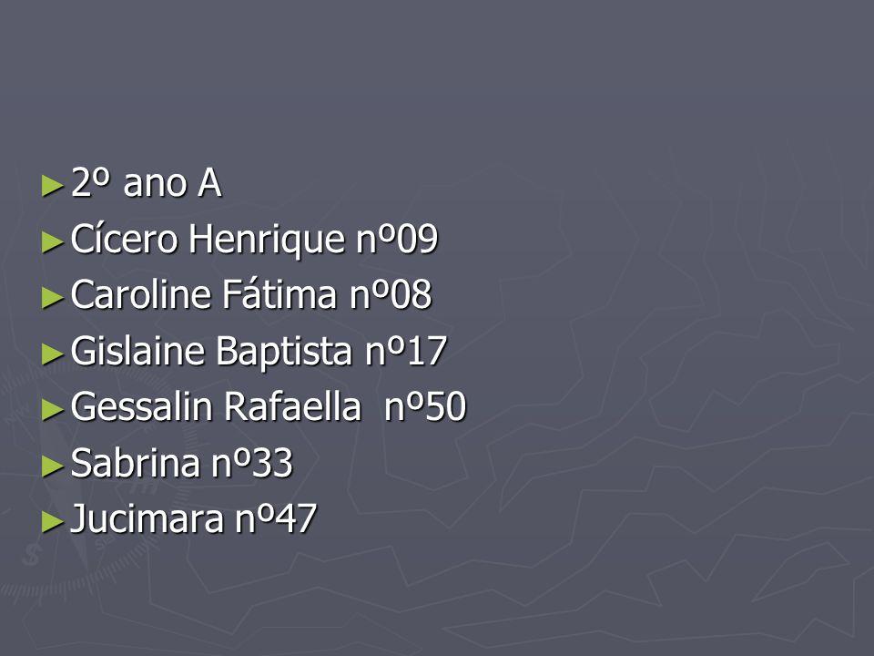 2º ano A Cícero Henrique nº09. Caroline Fátima nº08. Gislaine Baptista nº17. Gessalin Rafaella nº50.