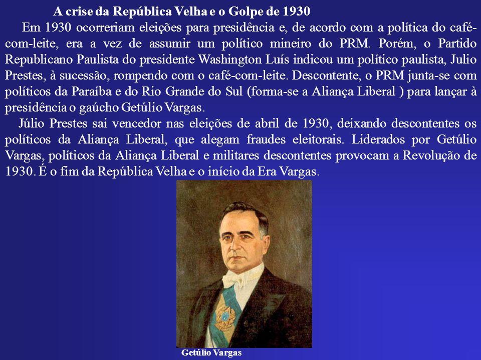 A crise da República Velha e o Golpe de 1930