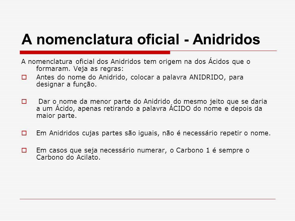 A nomenclatura oficial - Anidridos