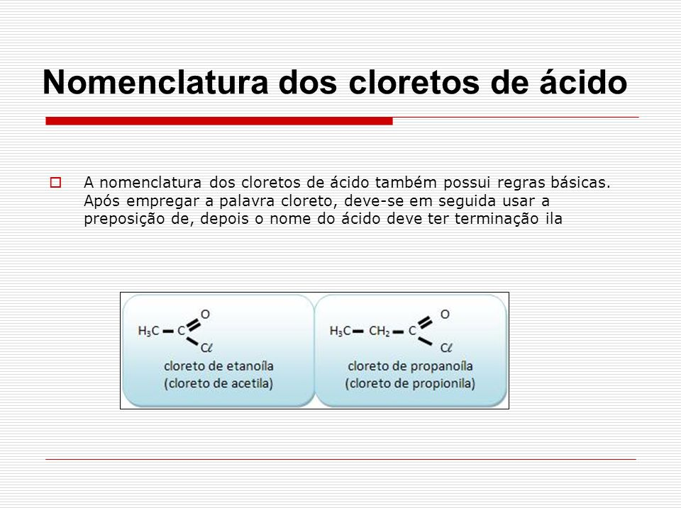 Nomenclatura dos cloretos de ácido