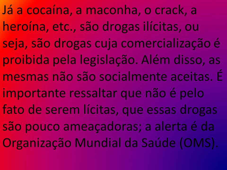 Já a cocaína, a maconha, o crack, a heroína, etc