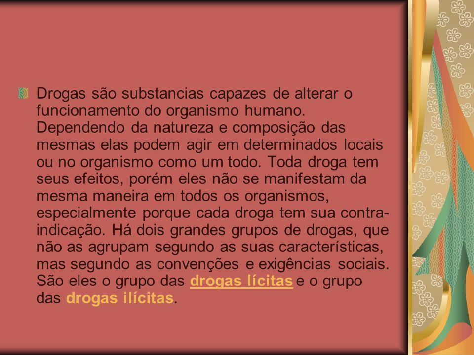 Drogas são substancias capazes de alterar o funcionamento do organismo humano.
