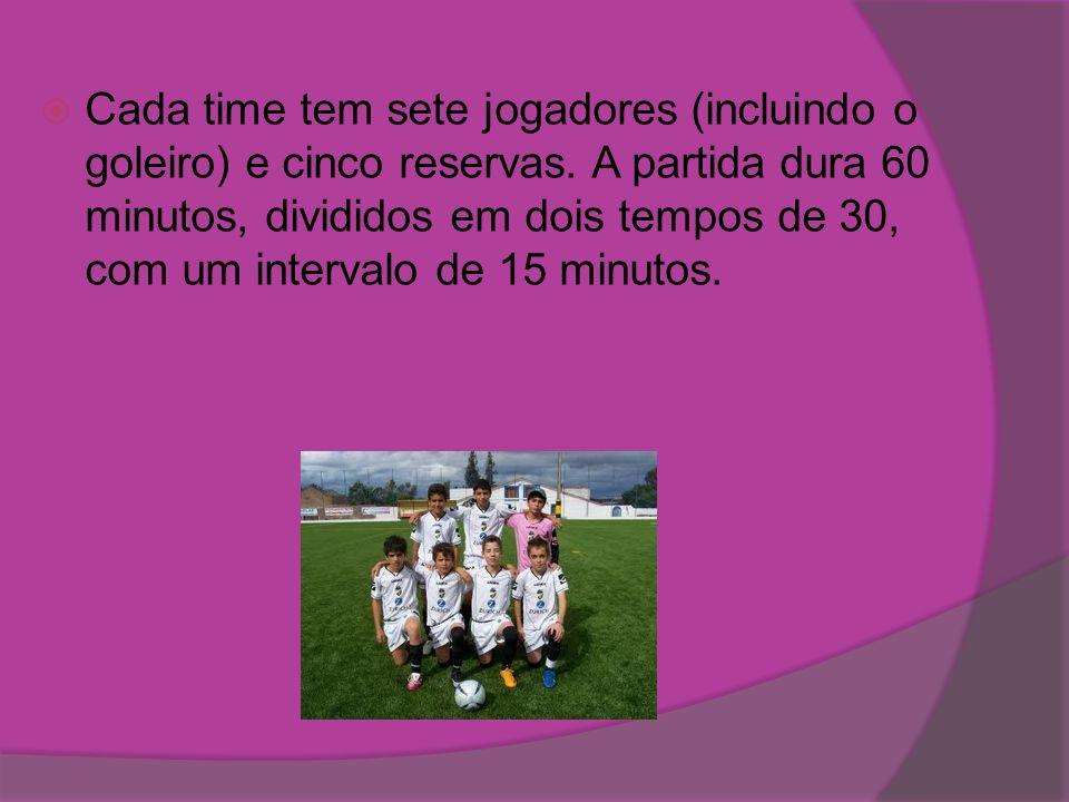 Cada time tem sete jogadores (incluindo o goleiro) e cinco reservas
