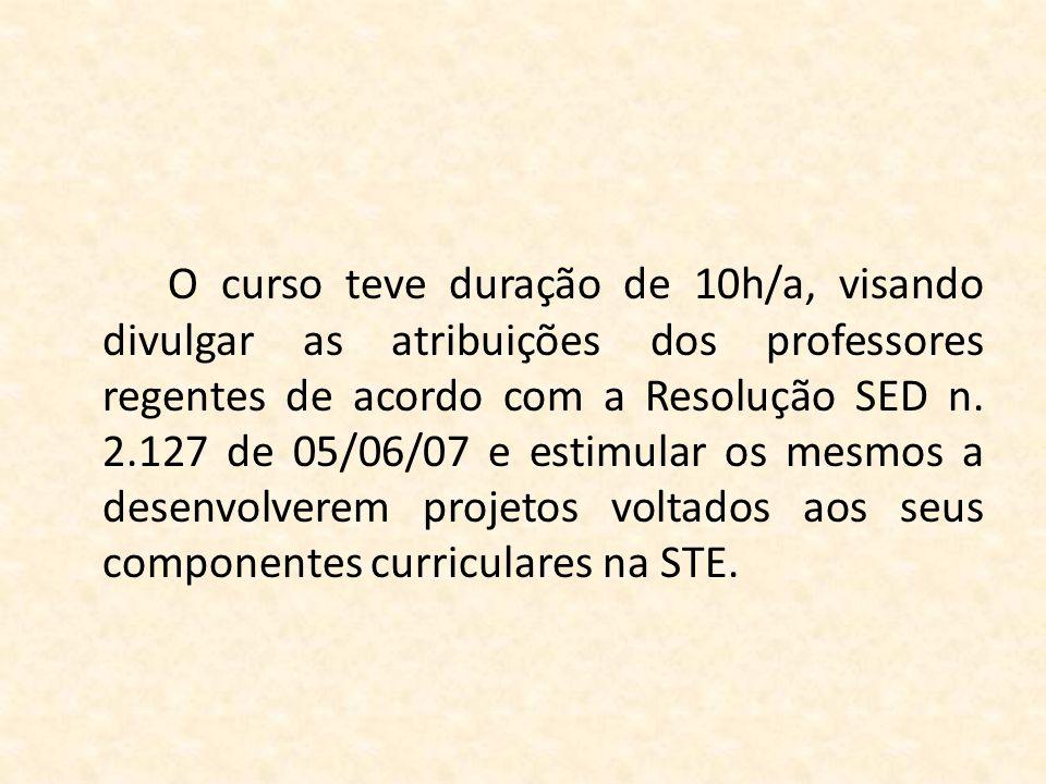O curso teve duração de 10h/a, visando divulgar as atribuições dos professores regentes de acordo com a Resolução SED n.