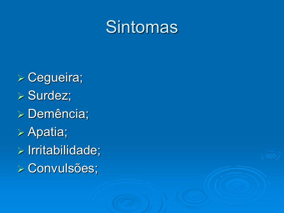 Sintomas Cegueira; Surdez; Demência; Apatia; Irritabilidade;