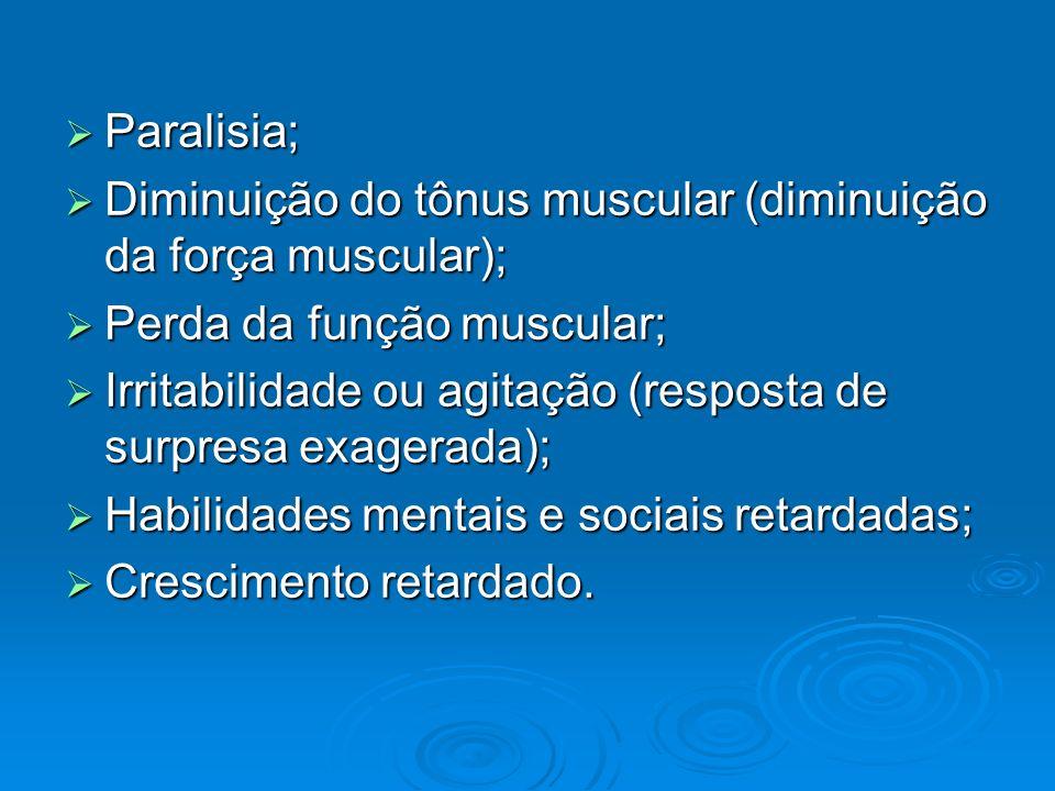 Paralisia; Diminuição do tônus muscular (diminuição da força muscular); Perda da função muscular;