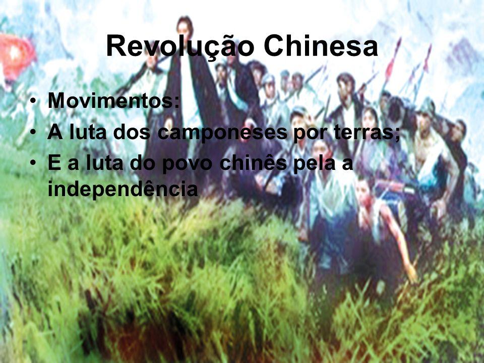 Revolução Chinesa Movimentos: A luta dos camponeses por terras;