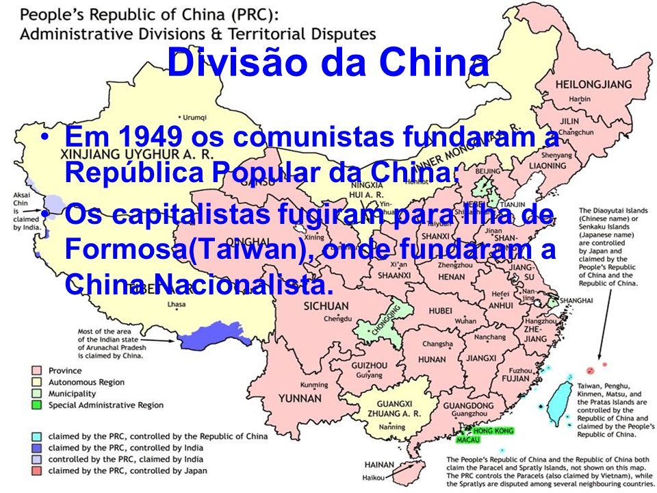 Divisão da China Em 1949 os comunistas fundaram a República Popular da China: