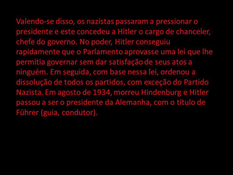 Valendo-se disso, os nazistas passaram a pressionar o presidente e este concedeu a Hitler o cargo de chanceler, chefe do governo.