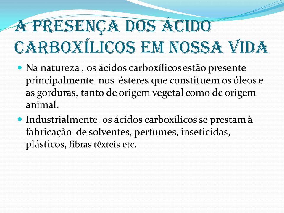 A presença dos ácido carboxílicos em nossa vida