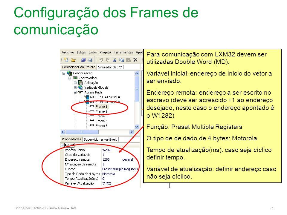 Configuração dos Frames de comunicação