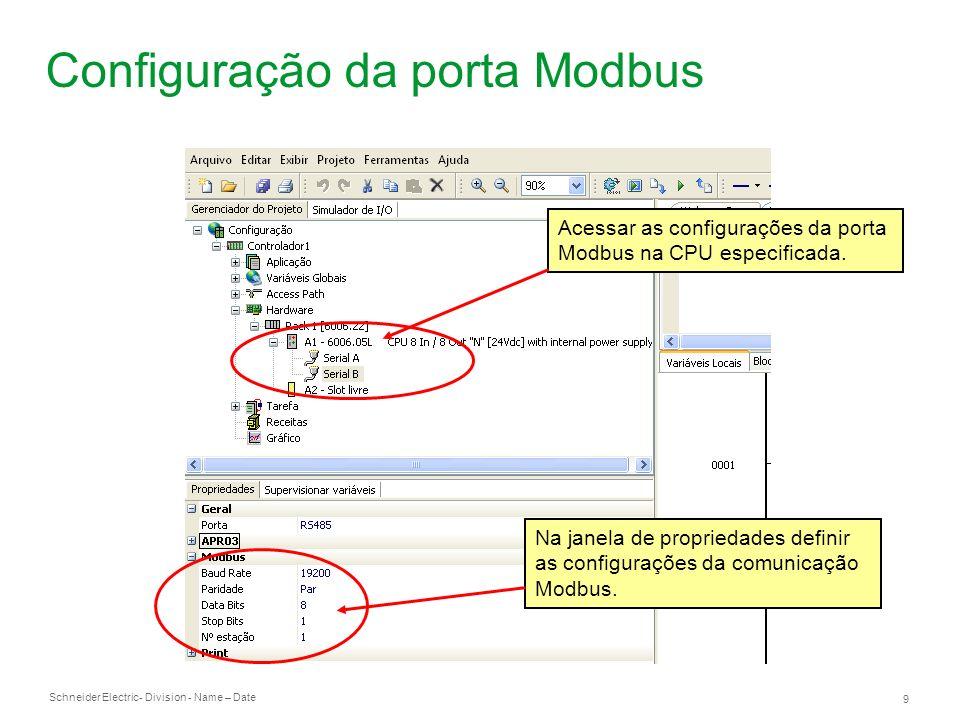 Configuração da porta Modbus