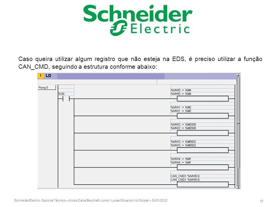 Caso queira utilizar algum registro que não esteja na EDS, é preciso utilizar a função CAN_CMD, seguindo a estrutura conforme abaixo:
