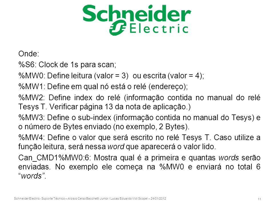 Onde: %S6: Clock de 1s para scan; %MW0: Define leitura (valor = 3) ou escrita (valor = 4); %MW1: Define em qual nó está o relé (endereço);