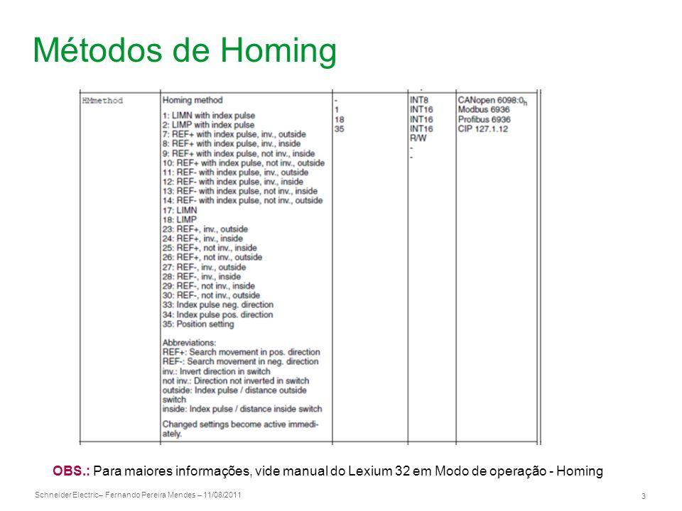 Métodos de Homing OBS.: Para maiores informações, vide manual do Lexium 32 em Modo de operação - Homing.