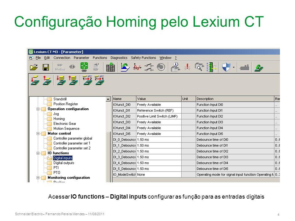 Configuração Homing pelo Lexium CT