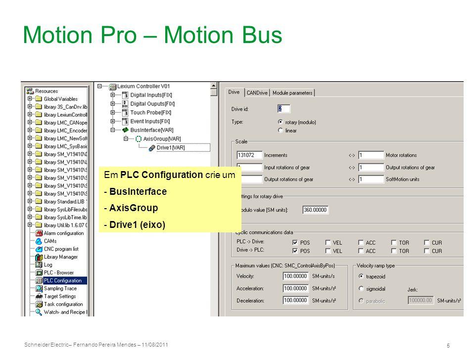 Motion Pro – Motion Bus Em PLC Configuration crie um - BusInterface