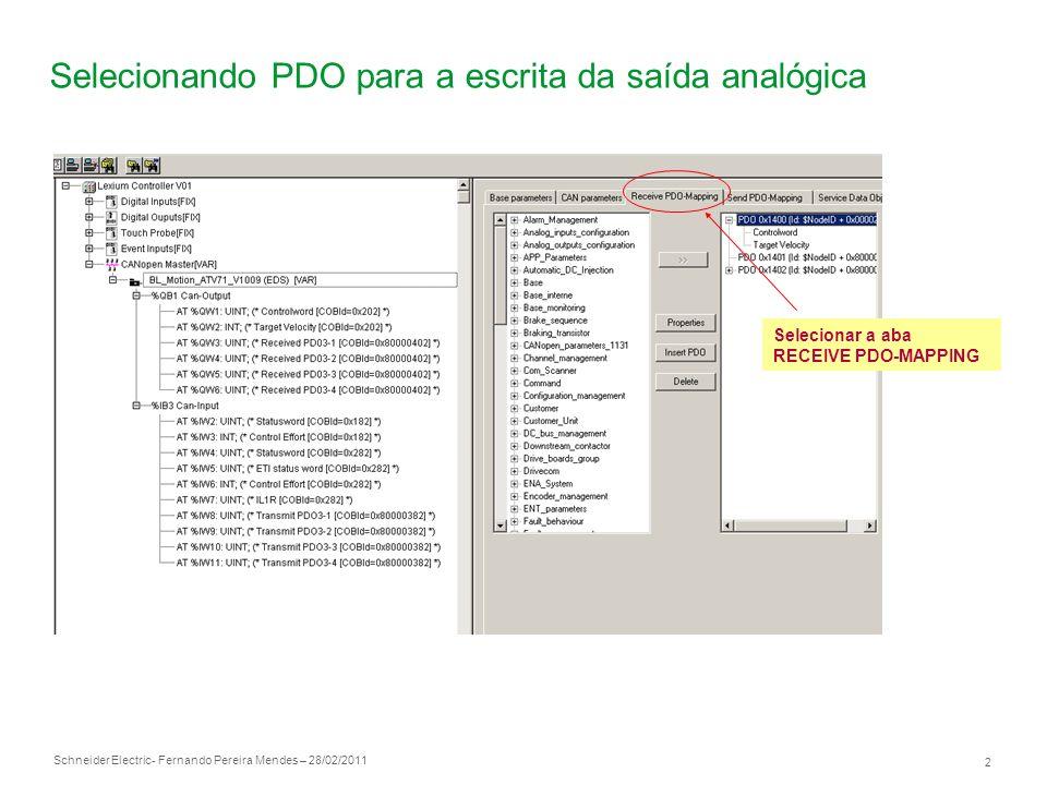 Selecionando PDO para a escrita da saída analógica