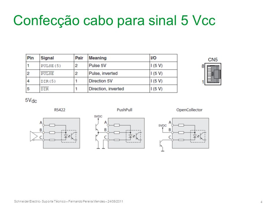 Confecção cabo para sinal 5 Vcc