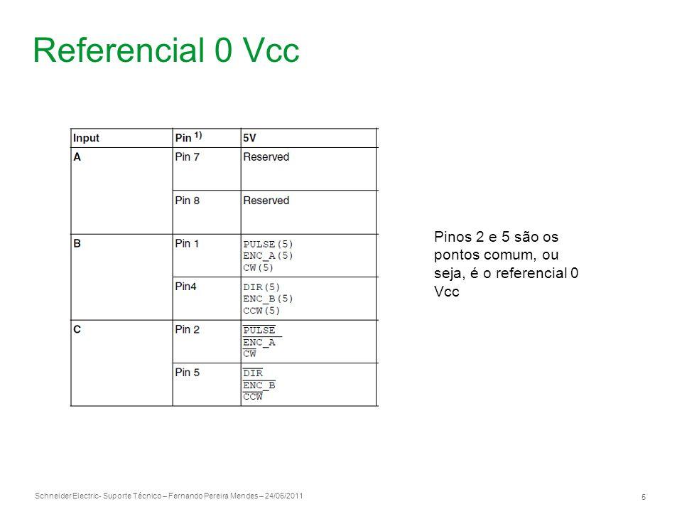 Referencial 0 Vcc Pinos 2 e 5 são os pontos comum, ou seja, é o referencial 0 Vcc