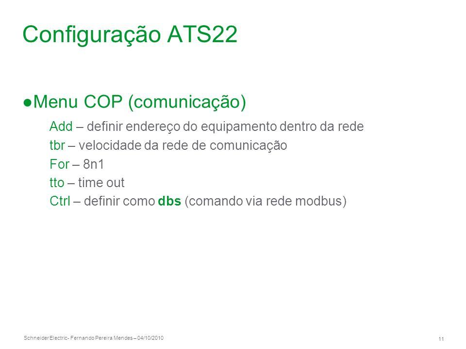 Configuração ATS22 Menu COP (comunicação)