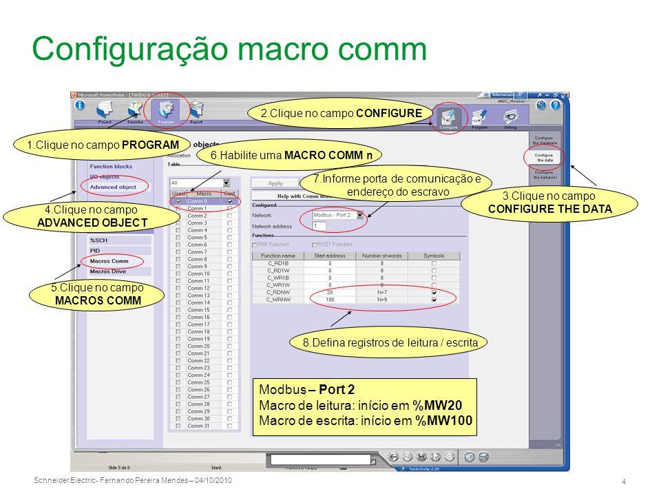 Configuração macro comm