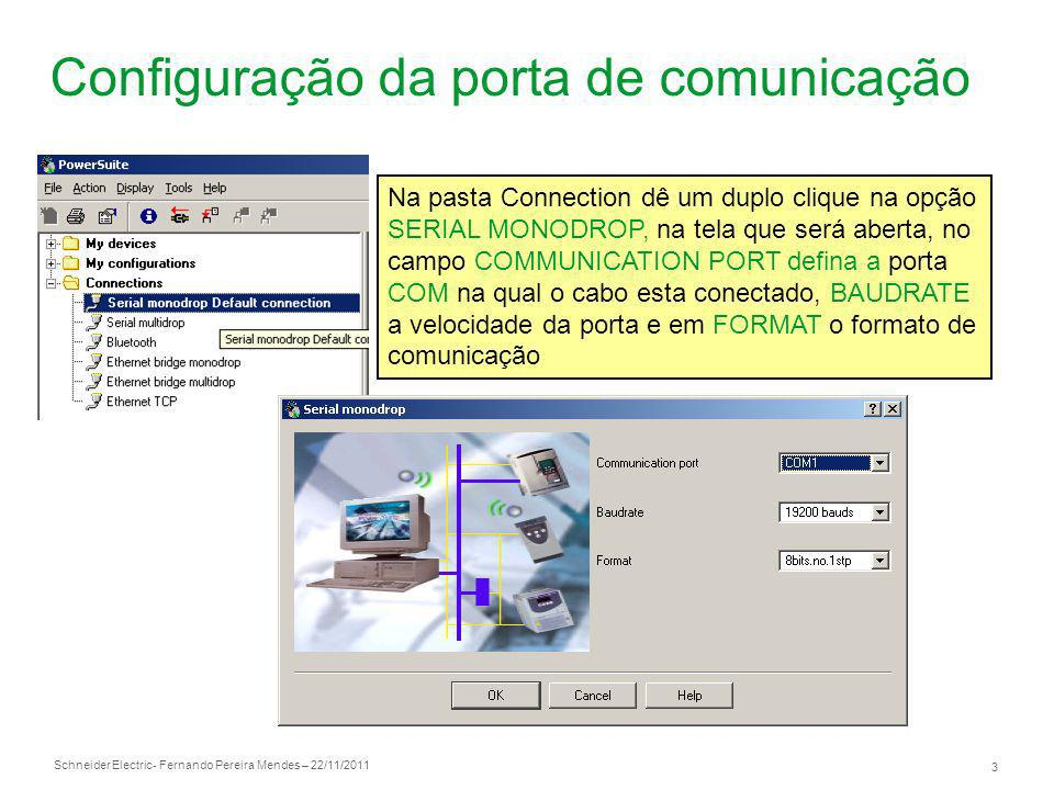 Configuração da porta de comunicação