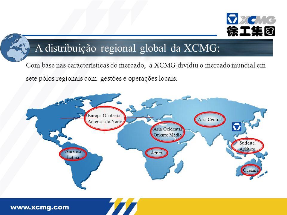 A distribuição regional global da XCMG: