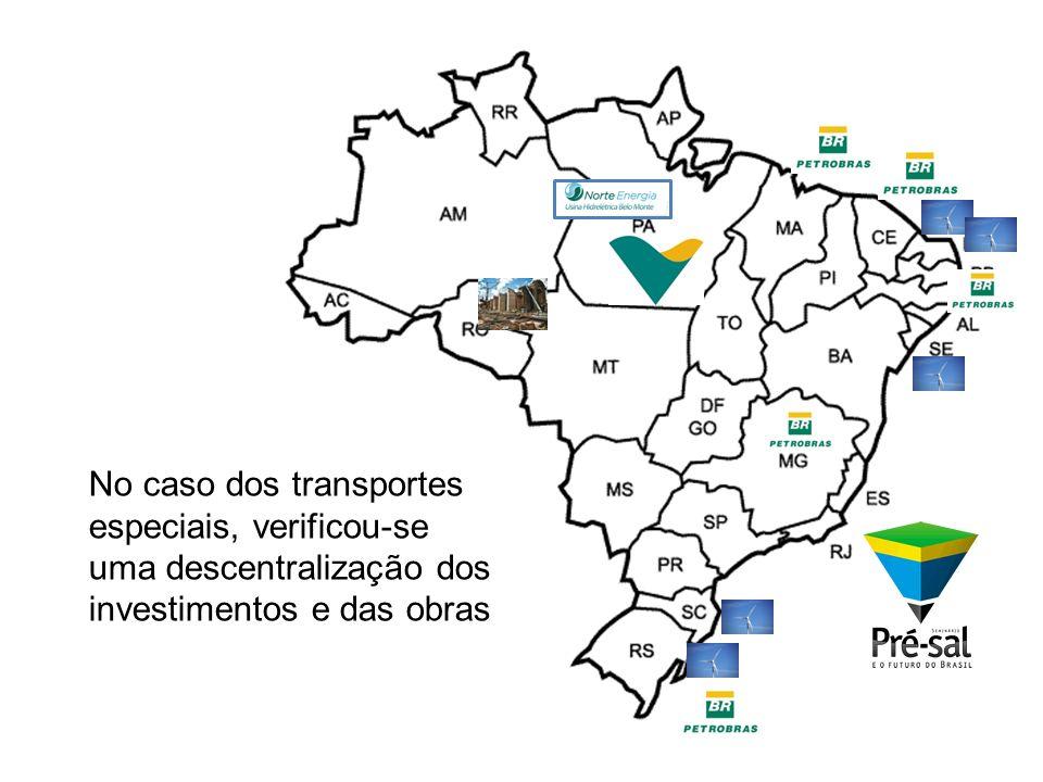 No caso dos transportes especiais, verificou-se uma descentralização dos investimentos e das obras