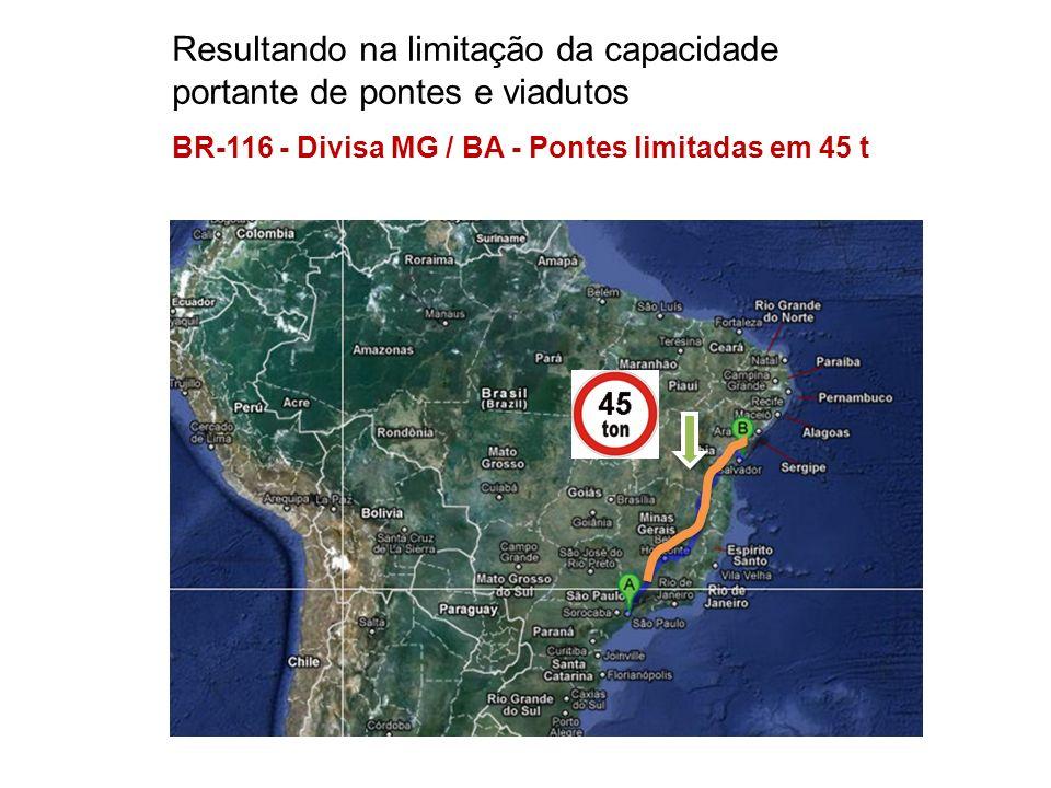 Resultando na limitação da capacidade portante de pontes e viadutos BR-116 - Divisa MG / BA - Pontes limitadas em 45 t