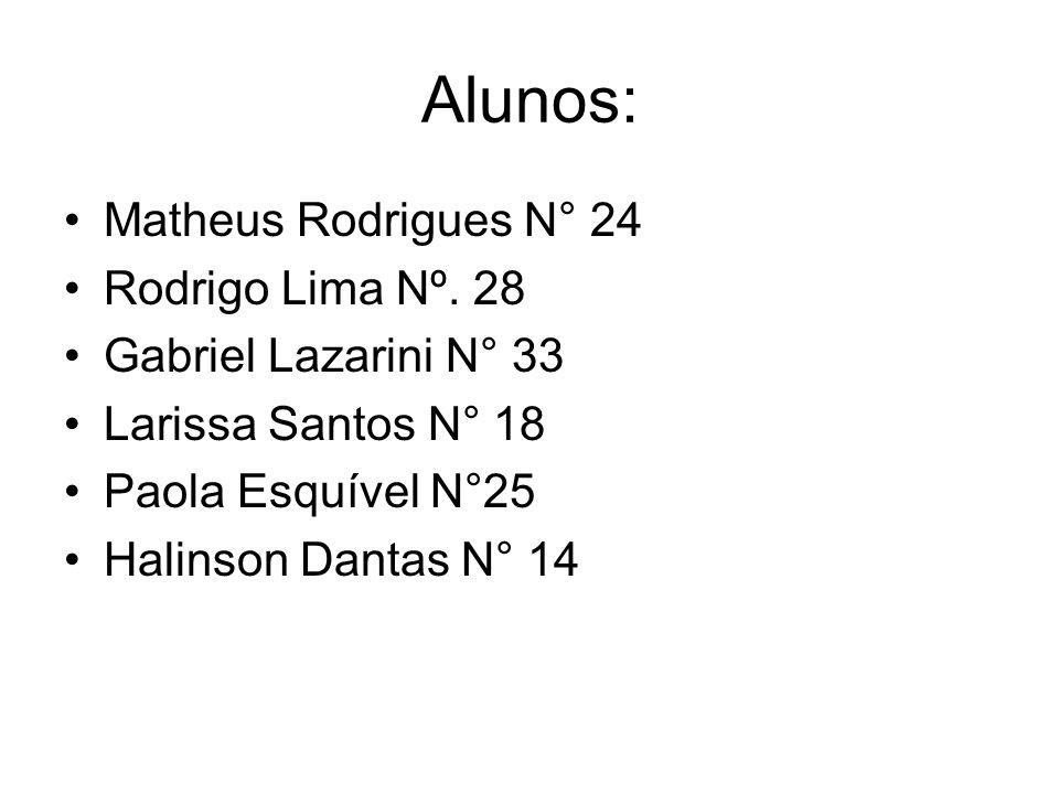Alunos: Matheus Rodrigues N° 24 Rodrigo Lima Nº. 28