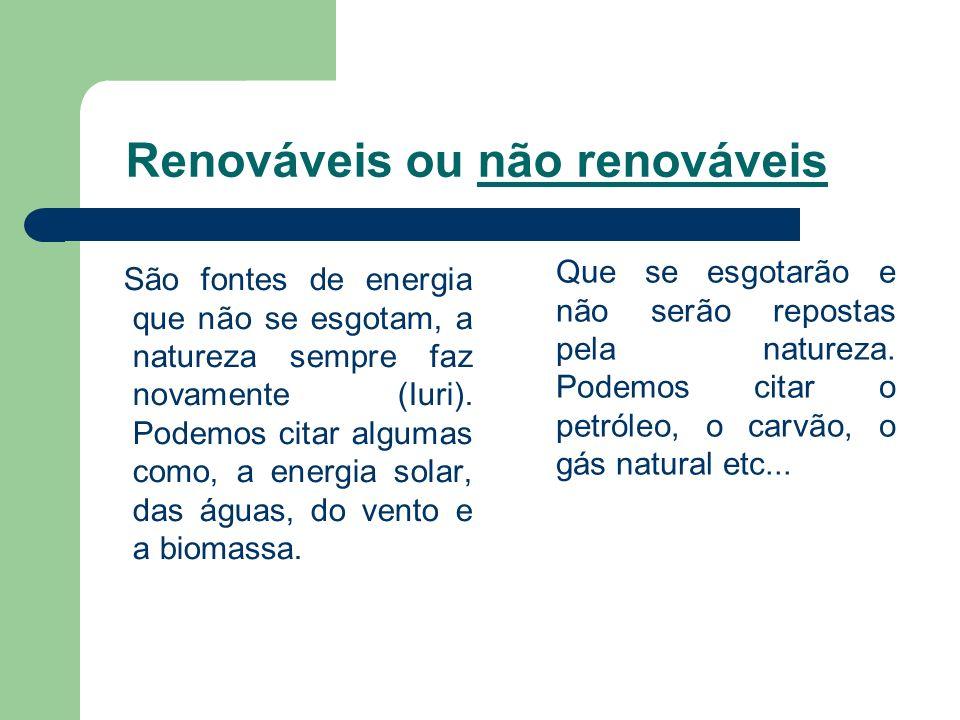 Renováveis ou não renováveis