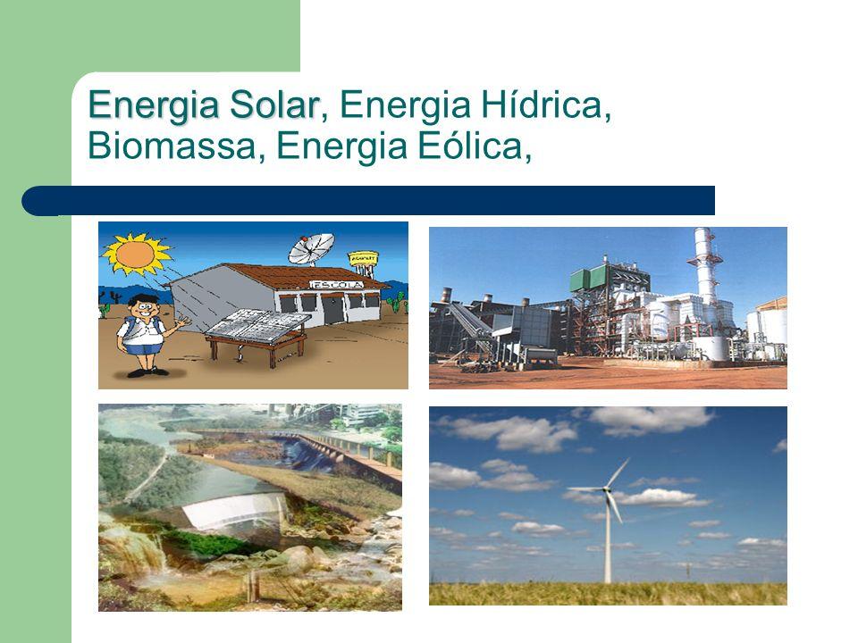 Energia Solar, Energia Hídrica, Biomassa, Energia Eólica,