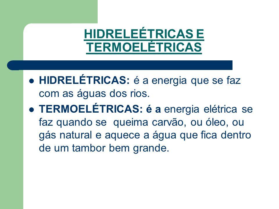 HIDRELEÉTRICAS E TERMOELÉTRICAS