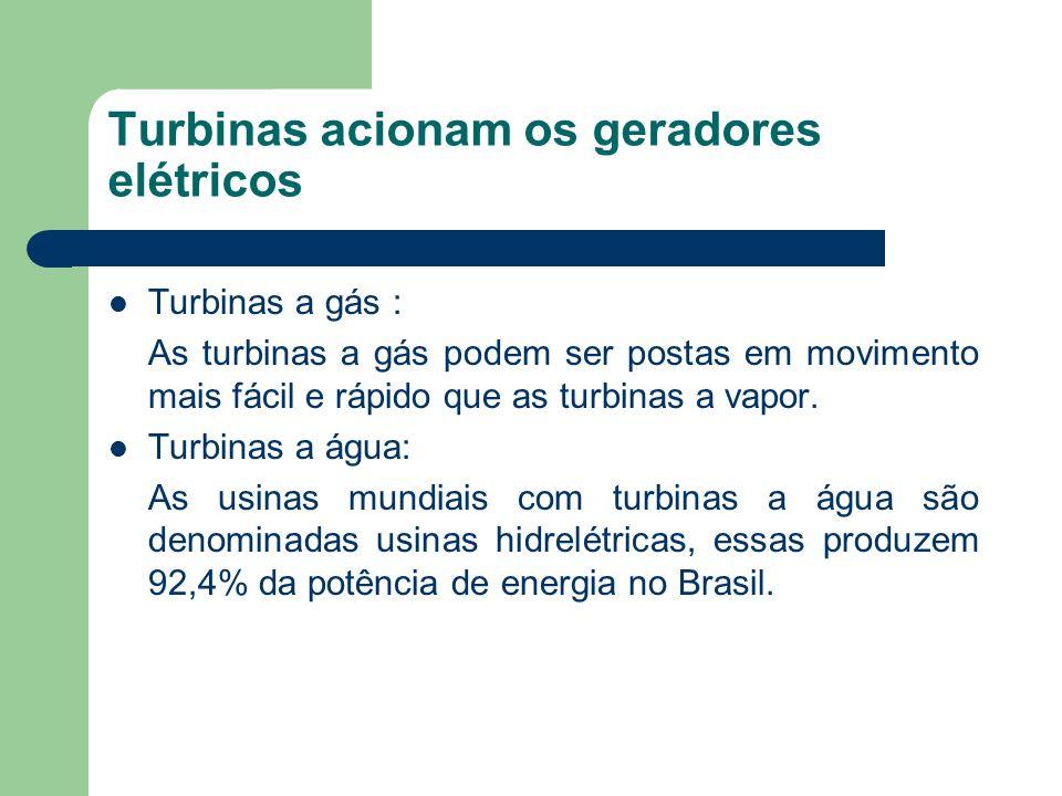 Turbinas acionam os geradores elétricos