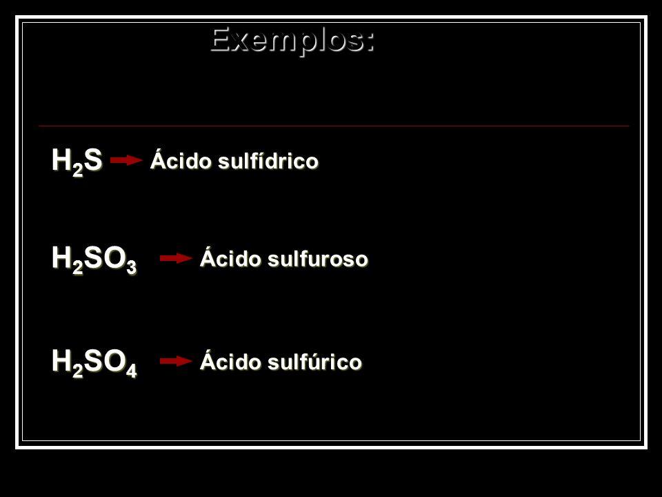 Exemplos: H2S H2SO3 H2SO4 Ácido sulfídrico Ácido sulfuroso