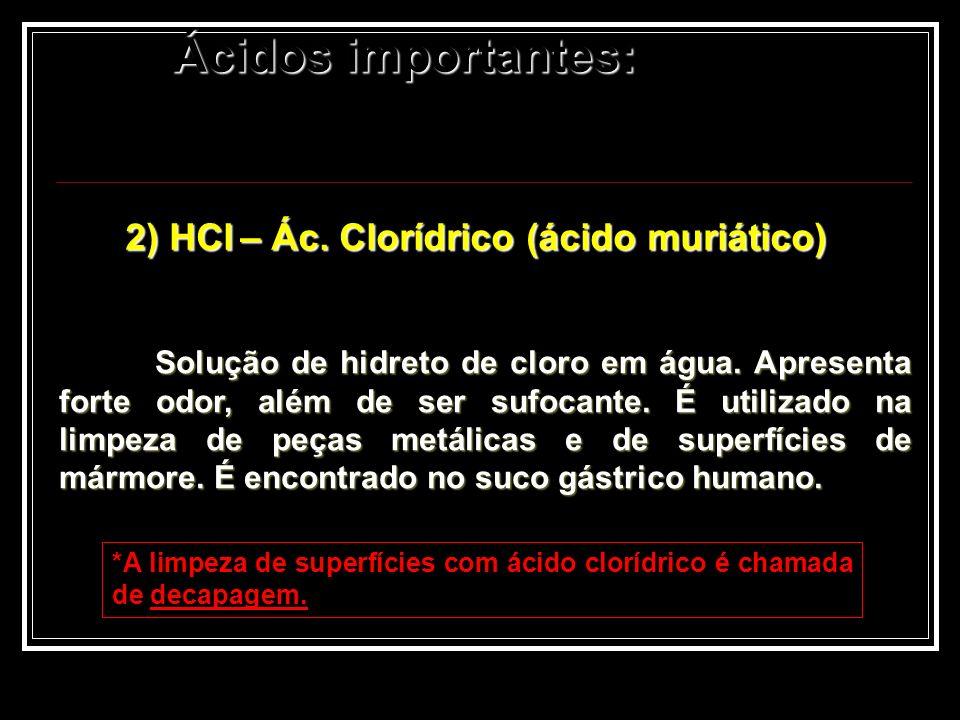2) HCl – Ác. Clorídrico (ácido muriático)