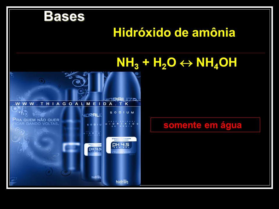 Bases Hidróxido de amônia NH3 + H2O  NH4OH somente em água