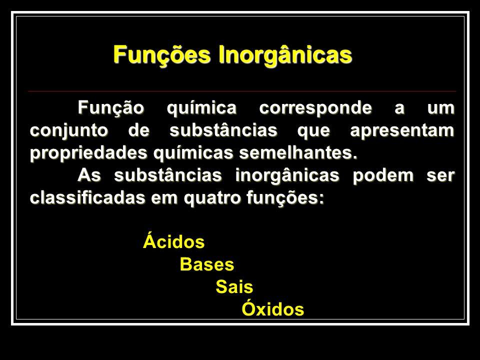 Funções Inorgânicas Função química corresponde a um conjunto de substâncias que apresentam propriedades químicas semelhantes.