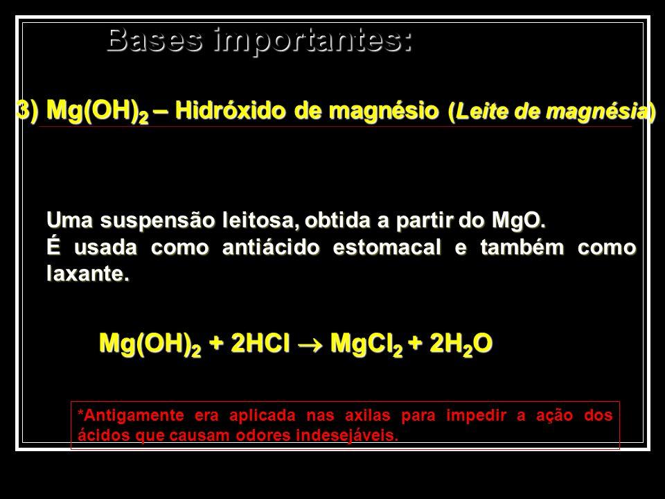 3) Mg(OH)2 – Hidróxido de magnésio (Leite de magnésia)