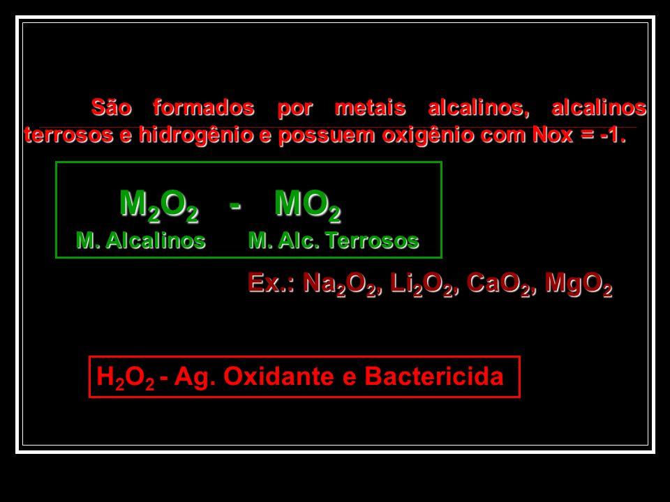 Peróxidos M2O2 - MO2 Ex.: Na2O2, Li2O2, CaO2, MgO2