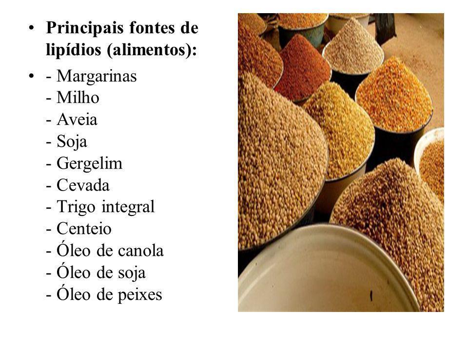 Principais fontes de lipídios (alimentos):