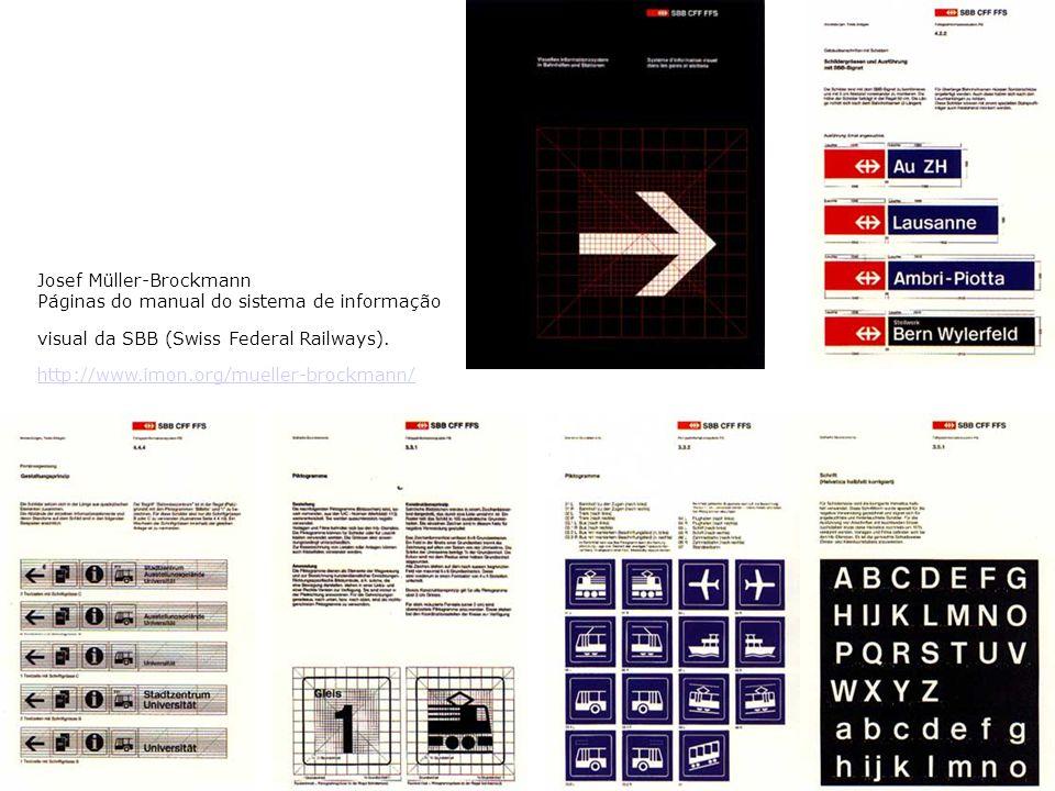 Josef Müller-Brockmann Páginas do manual do sistema de informação visual da SBB (Swiss Federal Railways).