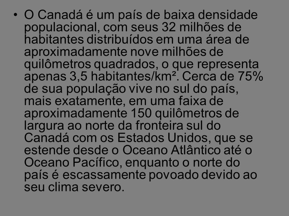 O Canadá é um país de baixa densidade populacional, com seus 32 milhões de habitantes distribuídos em uma área de aproximadamente nove milhões de quilômetros quadrados, o que representa apenas 3,5 habitantes/km².