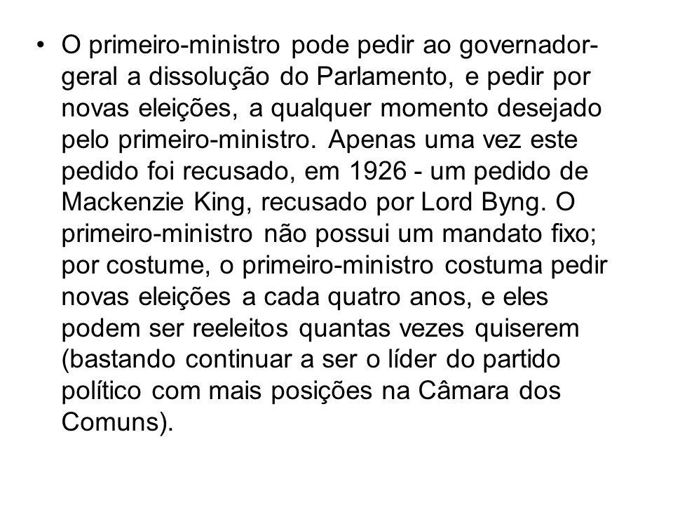 O primeiro-ministro pode pedir ao governador-geral a dissolução do Parlamento, e pedir por novas eleições, a qualquer momento desejado pelo primeiro-ministro.