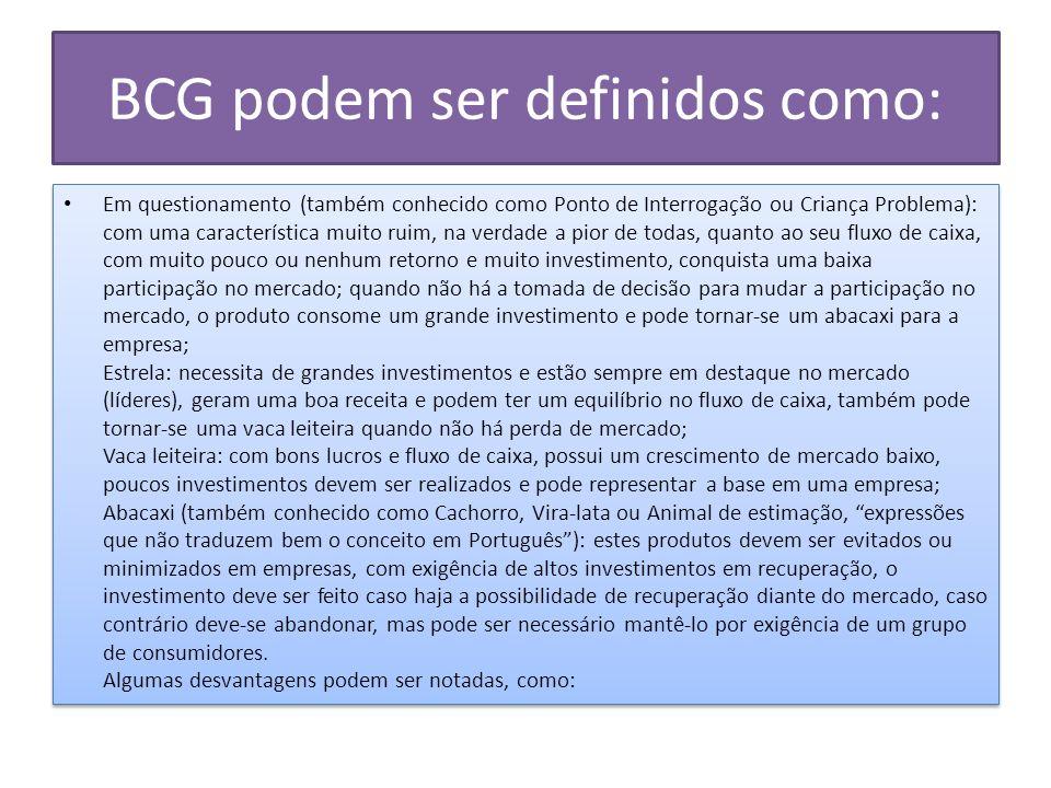 BCG podem ser definidos como: