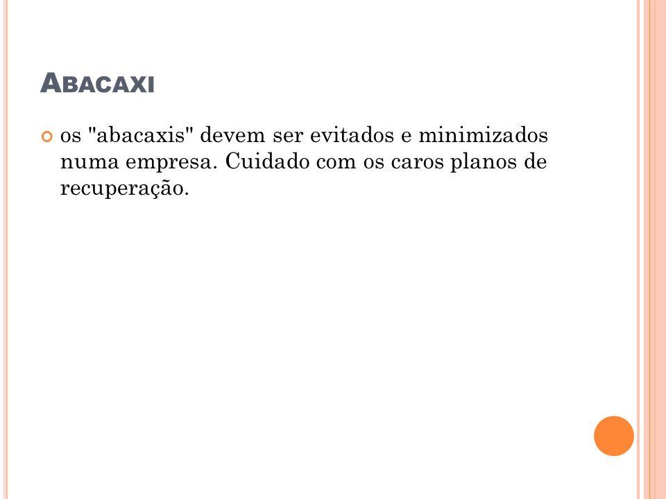 Abacaxi os abacaxis devem ser evitados e minimizados numa empresa.