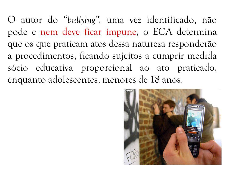 O autor do bullying , uma vez identificado, não pode e nem deve ficar impune, o ECA determina que os que praticam atos dessa natureza responderão a procedimentos, ficando sujeitos a cumprir medida sócio educativa proporcional ao ato praticado, enquanto adolescentes, menores de 18 anos.