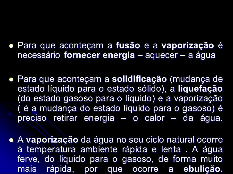 Para que aconteçam a fusão e a vaporização é necessário fornecer energia – aquecer – a água