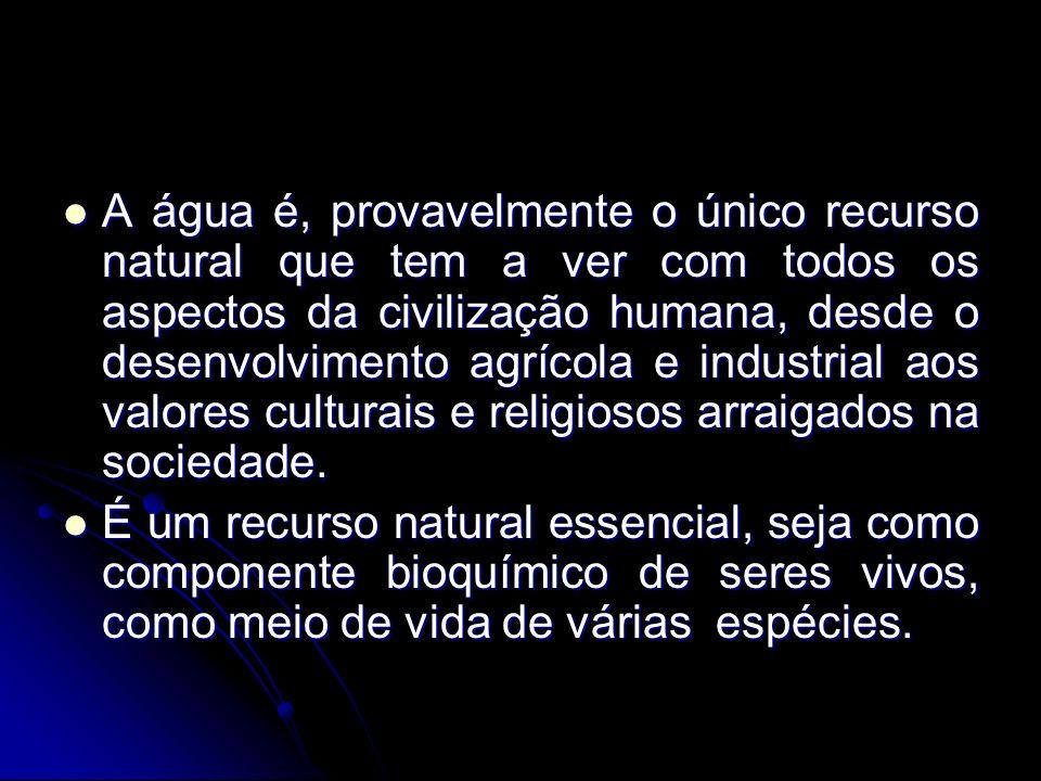 A água é, provavelmente o único recurso natural que tem a ver com todos os aspectos da civilização humana, desde o desenvolvimento agrícola e industrial aos valores culturais e religiosos arraigados na sociedade.